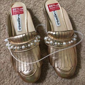 Shoes - NEW Karl Lagerfeld Odetta Gold Slip On Mule Slide